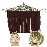 WESEEDOO Hängematte Meerschweinchen Ratten Zubehör Hamster Cage Zubehör Meerschweinchen Hideaway Hamster-Hängematte Rattenhängematten Für Käfig Kaninchenbett Leopard Print b