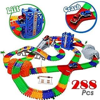 comprar comparacion TONZE Pista Coches Juguetes Circuito Coches Pistas Flexibles con 2 Autos Juego Electricos para Infantil Niños Niñas 3 4 5 ...