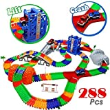 TONZE Circuit Flexible Circuit Voiture Enfant Jeu Circuit avec Accessories 288 Pcs Rails