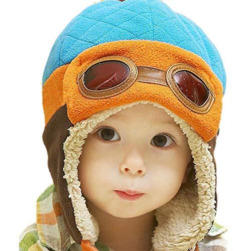 EDOTON Baby Kinder Earflap Hut, Winter Warme Pilot Flieger Mütze Wintermützen für Mädchen Jungen 6 Monate -3 Jahre (Blau)