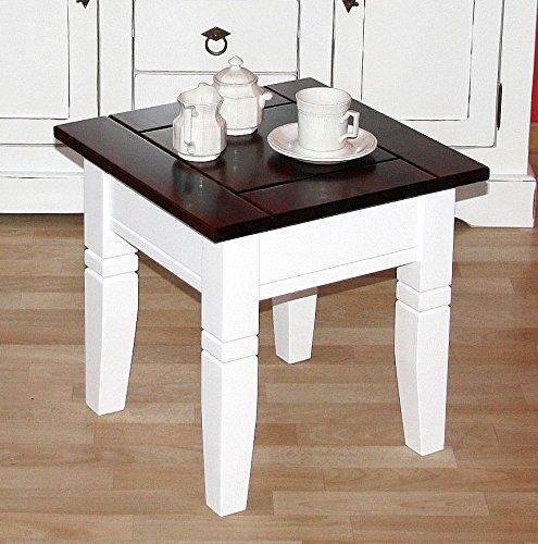 CASA Couchtisch quadratisch Beistelltisch 45x45cm Holz massiv weiß/kolonial