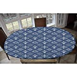 Indigo Elastic Polyester Fitted Table Cover,Mediterranean Floral Leaf Swirl Detailed Rectangular Armor Design Image Decorative Oblong/Oval Elastic Fitted Tablecloth,Fits Tables up to 48