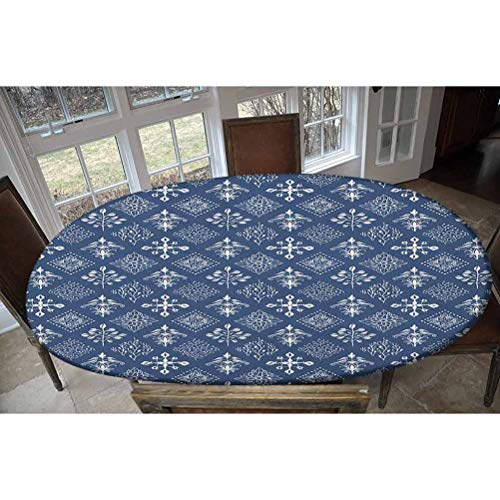Indigo Elastic Polyester Fitted Table Cover,Mediterranean Floral Leaf Swirl Detailed Rectangular Armor Design Image Decorative Oblong/Oval Elastic Fitted Tablecloth,Fits Tables up to 48' W x 68' L