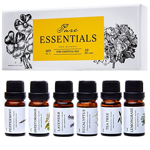 Essential Oils by Pure Essentials 100% Pure Therapeutic Grade Oils - Top 6 Aromatherapy Oils Gift Set-6 Pack, 10ML(Eucalyptus, Lavender, Lemon Grass, Orange, Peppermint, Tea Tree)
