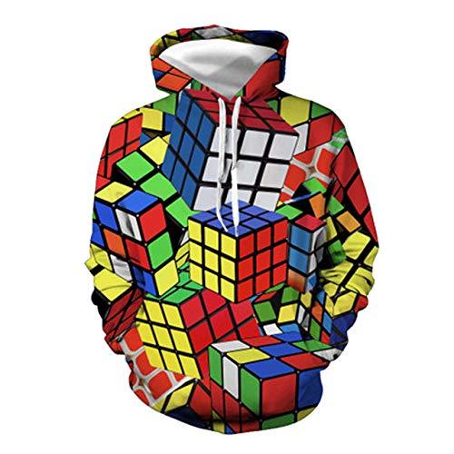 LYPPP Sudadera con Capucha,Sudadera con Capucha de los Hombres Sudadera Rubik'S Cube Pullover Impreso en 3D de Manga Larga Camisa Casual con Capucha de Bolsillo Suelto para Hombre, WH, M