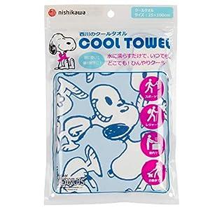 東京 西川 クールタオル キッズ マフラータオル 洗える スヌーピー いっぱい スポーツ 風邪 ほてり対策 濡らして振ると何度でも冷たい ブルー LT60109090B