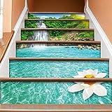 Aufkleber Hauptdekoration Künstlerische Dekoration Kreative Treppen Aufkleber 3D White Lotus Wasserfall Treppen Aufkleber selbstklebende Wandsticker Tapete Anti-Fouling Landschaftsbau Muster Schritte