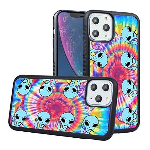 LEALIN iPhone 11 Case, Tie Dye Alien Antiskid Handle Black TPU Phone Case for iPhone 11 6.1 inch,iPhone 11 Cover