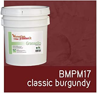 FirmoLux Grassello Authentic Venetian Plaster | Polished Plaster | Made in Italy from Lime, Marble & Other Natural Aggregates | Dark Red Tone Colors (16) | Color: BMPM17 Classic Burgundy
