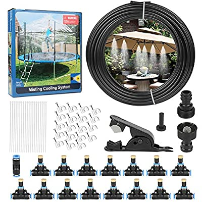 """Outdoor Misting Cooling System 50FT (15M) Outdoor Misters Automatic Plant Water Irrigation Fan Misting Mister Kit with 15pcs Brass Nozzles and a 3/4"""" and 1/2"""" Faucet Connector"""