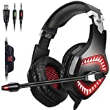 Gaming Headset,Proslife Denoise Game Headphone with Mic,LED Lighting,Rotatable Ear Shell,50mm Super Bass Speakers Earphone for PS4, PC, Xbox One Controller