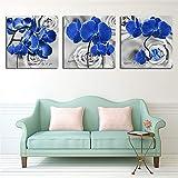 QWERGLL 3 Panel HD 3 Wandmalerei Kunst Bild Blau Blumen Wandkunst Leinwand Dekoration Gemälde Für Wohnzimmer Wand Poster Drucke