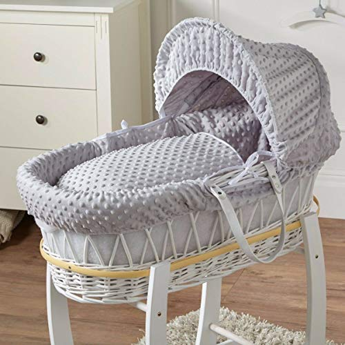 FYLO Grey Dimple White Wicker Moses Basket