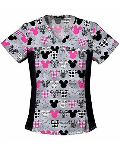 Cherokee Women's V-Neck Knit Panel Top Mickey, Grey, Large