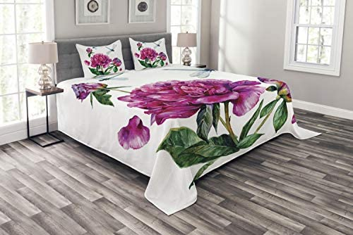 Ambesonne Flower Bedspread Watercolor Peonies and Dragonflies Blossoming Spring with Romantic product image