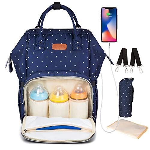 Baby Wickelrucksack Wickeltasche, KOROPADE Wickelunterlage Multifunktional Wasserdicht Oxford Große Kapazität Babytasche, Stilvoll und Dauerhaft Windel Isolierter Tasche für Mom & Dad (blau)