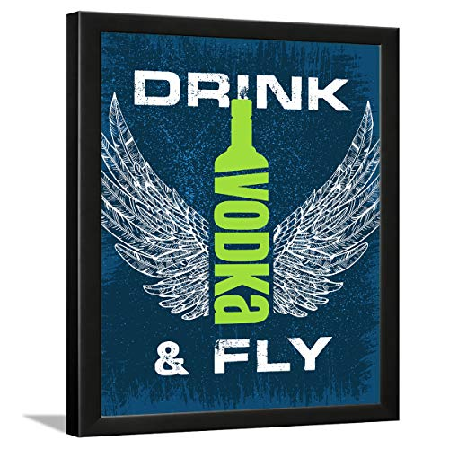 Chaka Chaundh – Bar Quotes Frame - Vodka Posters with Quotes - Cocktail Posters - Bar Photo Frames - Vodka Quotes Framed - (13.5 X 10.5 Inches) – Engineered Wood (Blue Bar)