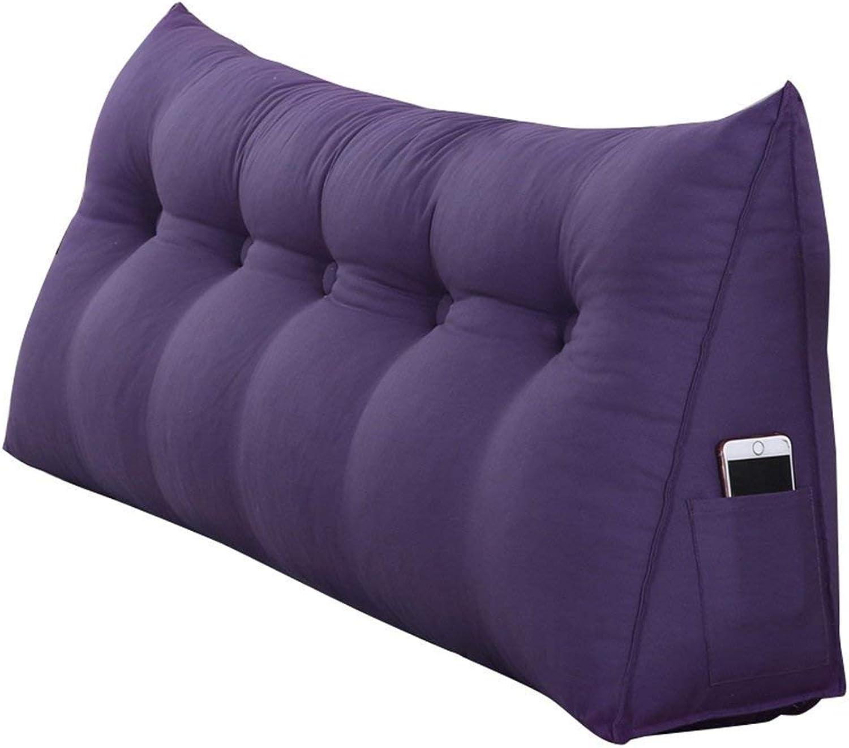 WEN-Cushions Coussins de Chevet, Coussins de Dossier triangulaires, Lecture Coussin Lombaire Coussin de Cou Dossier pour lit (Deep violet) (Taille   100  50  20cm)
