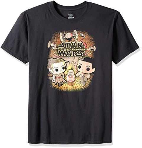 Funko Pop Tees: Star Wars Rey and Finn Running T-Shirt (Large)