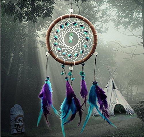インディアンターコイズフェザービーズ農村手芸ドリームキャッチャー壁掛け飾り
