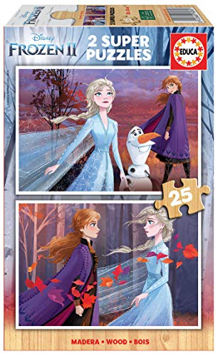 Educa - Frozen 2, 2 Puzzles infantiles de madera ecológica de 25 piezas, a partir de 3 años (18085)