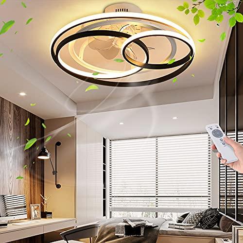 Deckenventilator Mit Beleuchtung LED Fan Deckenleuchte Fernbedienung Fan Deckenlampe Windgeschwindigkeit Dimmbar 50W Decke Lampe Leise Ventilator Für Esszimmer Wohnzimmer Schlafzimmer Kinderzimmer