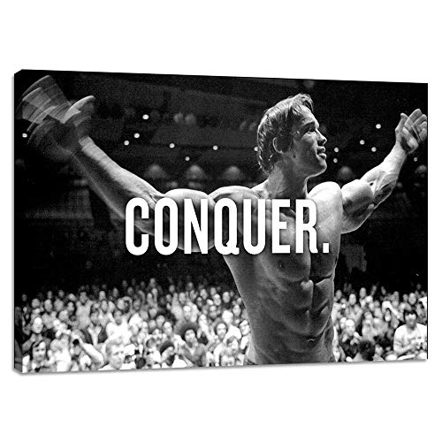 Yetaryy Motivational Canvas Wall Art Motivation Entrepreneur Quotes Conquer Positive Attitude Inspirational Poster Picture Painting for Office Gym School Classroom Living Room - 24' Hx36 W