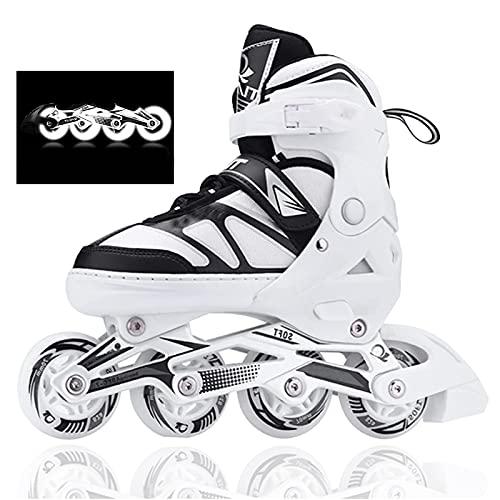 Kinder Herren Damen verstellbare Inliner Inlineskates, ABEC-7 Chrome Kugellager, Größe 26-45 Unisex Fitness Skates für Erwachsene Anfänger mädchen Jungen (Weiß, L(37-42))