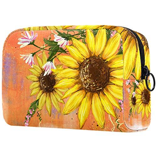 ATOMO Bolsa de maquillaje, bolsa de viaje cosmética de moda, bolsa de aseo grande, organizador de maquillaje para mujer, girasol abstracto