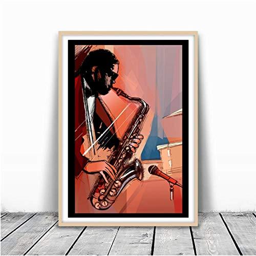 Liangzheng Saxofoon speler bedrukt muziek poster kamer muurkunst huis decoratie handgeschilderd canvas schilderij afbeelding muzikant cadeau-idee 60x80cmx1 niet ingelijst