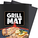 Grill Mat Set of 2 100% Non-Stick Heavy Duty BBQ Grill Mats Reusable and Easy to Clean - Works on Electric Grill Gas Charcoal BBQ by K & S Enterprises