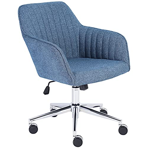 Jacky Home Chenille Office Desk Chair with Mid-Back, Modern Height Adjustable 360° Swivel Upholstered Computer Task Chair with Arms and Wheels for Study Room Living Room Bedroom (Blue)