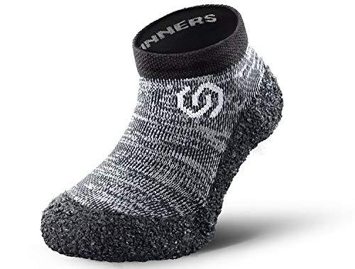Skinners | Minimalistische Unisex Barfußschuhe für Kinder | Minimalist Barefoot Socks/Shoes | (Granitgrau (weißes Logo), Size 26-27)