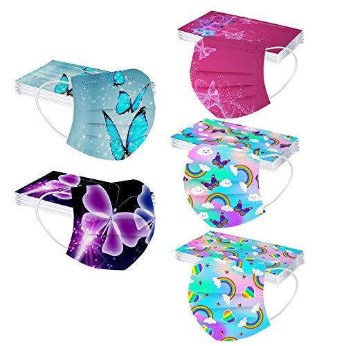 N / C 50 Unidades Moda De_Mascarilla_ D_esechables 1 Paquete de 5 Estilos con Estampado Mariposas Filtro Face Scarf Niños, Infantil para Actividades al Aire Libre Escuela Unisex 3 𝓒𝓪𝓹𝓪𝓼