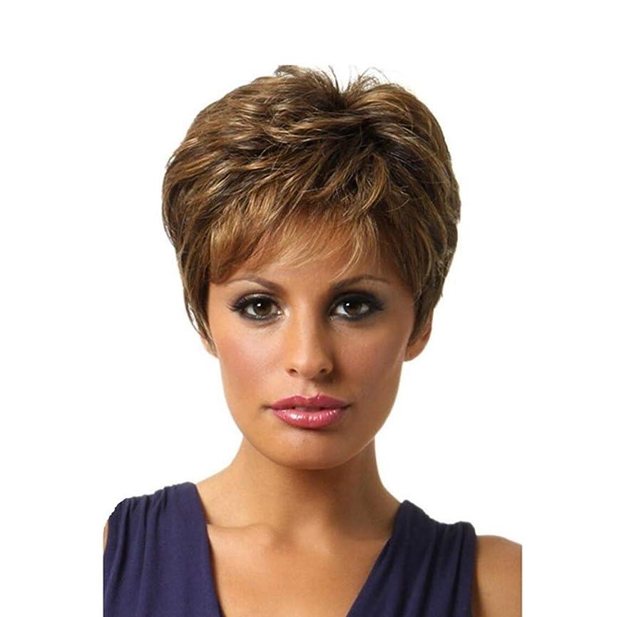 ブラジャーホスト官僚WASAIO ブロンドのハイライト髪の短い巻き毛ウィッグブラウン (色 : ブラウン)