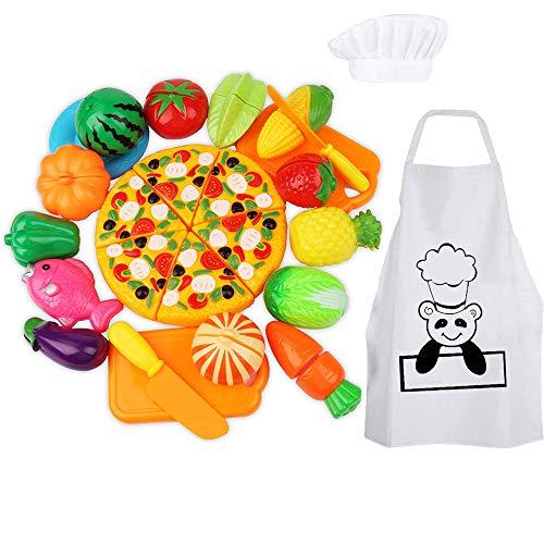 Harxin Alimentos de Juguete 28 Piezas Cortar Frutas Verduras Temprano Desarrollo Educación Bebé Niños Traje de Chef Juegos para Cocinar (Juguetes Cocina)