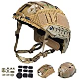 ActionUnion Tactical Airsoft Paintball Fast Helmet with Cover PJ Type Adjustable Protective NVG Mount forMulticam Military Sports Hunting Shooting (Tan-CP)