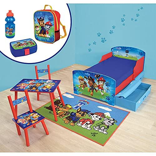 Cijep - Cámara completa 6 en 1 de la Patrulla Canina Canina (70 x 140 cm, con 2 cajones, una mesa y 2 sillas, una alfombra y un conjunto de merienda con 3 productos
