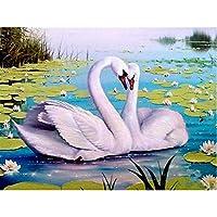 DIY白鳥5Dダイヤモンド絵画動物ダイヤモンド刺繡モザイククロスステッチ家の装飾40X50cm