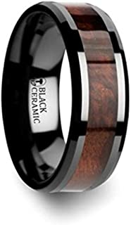 Thorsten Cerise Genuine Redwood Wood Inlaid Black Ceramic Ring with Beveled Edges 8mm Wide Wedding Band with Custom Inside Engraved Personalized from Roy Rose Jewelry