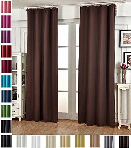 WOLTU #489, Vorhang Gardinen Blickdicht mit kräuselband für schiene, Leichter & weicher Verdunklungsvorhang für Wohnzimmer Schlafzimmer Tür, 135x245 cm, Braun, (1 Stück)