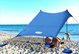 UMARDOO Family Beach Sunshade with 4 Sand Anchors,2 Aluminum Poles &...