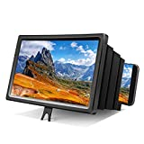 Foonii 12'' 3D Screen Magnifier for Cellphone, HD Phone Screen Magnifier for Movies, Videos and Gaming with Foldable Holder Stand, Screen Amplifier Compatible with All Cellphone (Black)
