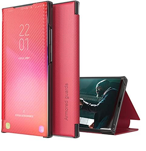 Eabhulie Huawei P30 Pro Funda, Delgada de Fibra de Carbono Translúcida Smart View Flip Cover Carcasa con Función Atril para Huawei P30 Pro Rojo