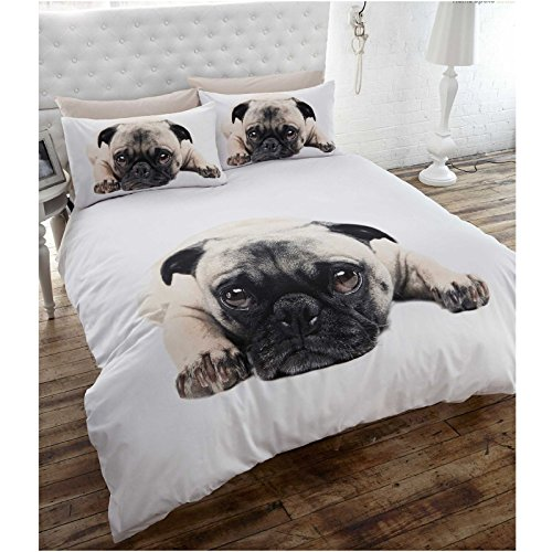 Single/US Twin Duvet Cover & P/case Bedding Bed Set White Pug Dog Cute Animal by BEDMAKER