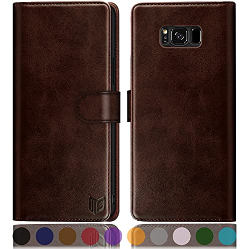 """SUANPOT for Samsung Galaxy S8 5.8""""(Non S8+ 6.2"""") with RFID Blocking Leather Wallet case Credit Card Holder, Flip Folio Book Phone case Shockproof Cover Women Men for Samsung S8 case Wallet (Brown)"""