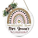 ELFTEES Personalized Teacher Classroom Door Sign Teacher Gift New Classroom Decor Sign Teachers Name Wooden Hanging Sign 14 inch White