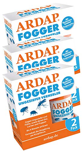 Quiko 3 x 2 x 100ml Ardap Fogger Sparpack Ungeziefer Vernebler für 6 Räume + Tuch