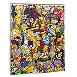 Cortina de ducha con ganchos, diseño de dibujos animados Simpsons, 152 x 183 cm, resistente al agua, poliéster, impresión exquisita, lavable