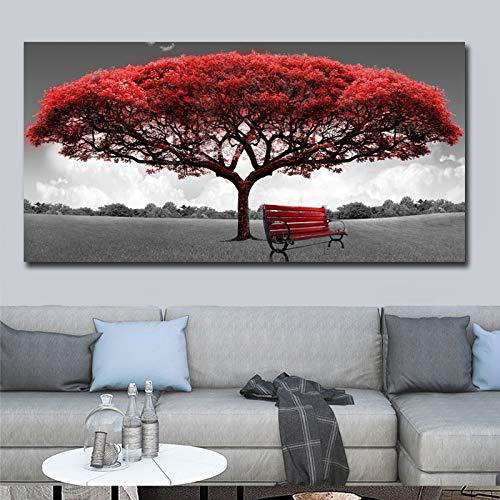 SUNNYWLH Pintura Mural 60X120 Cm Moderno Rojo Dinero Árbol Arte De La Pared Lienzo Carteles Impresiones Sin Marco De Pared Cuadros para La Oficina Sala De Estar Decoración del Hogar Ilustraciones